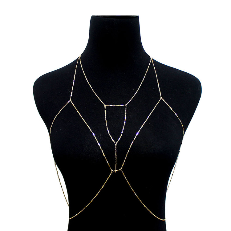 Ladies Sexy Body Chain Bra Cross Ball Chain