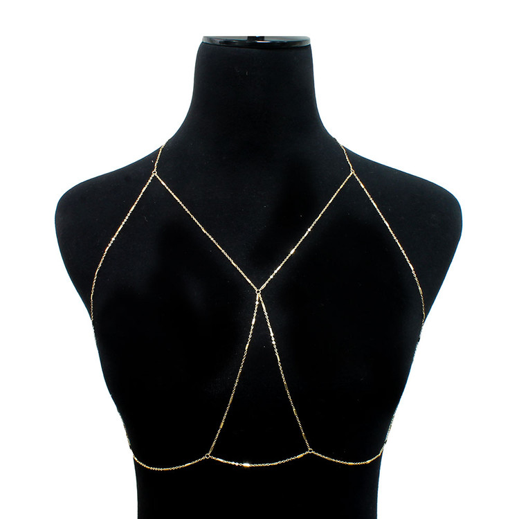 Ladies Sexy Draped Bar Body Chain Bra Gold