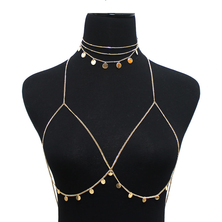 Ladies Sexy Disc Body Chain Choker Bra Gold
