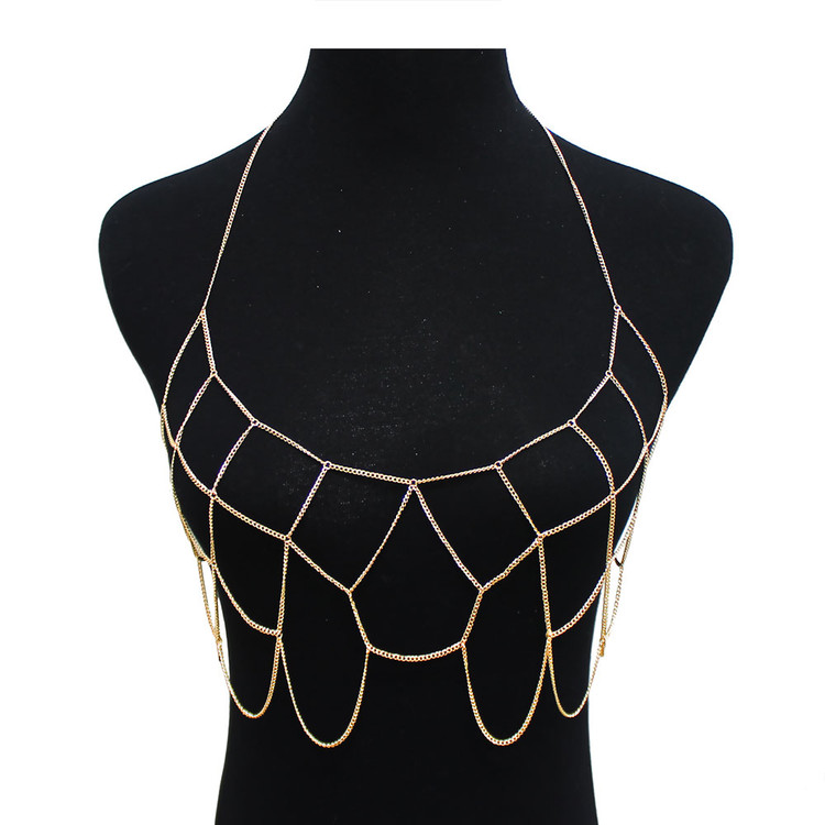 Ladies Sexy Bra Net Body Chain Gold