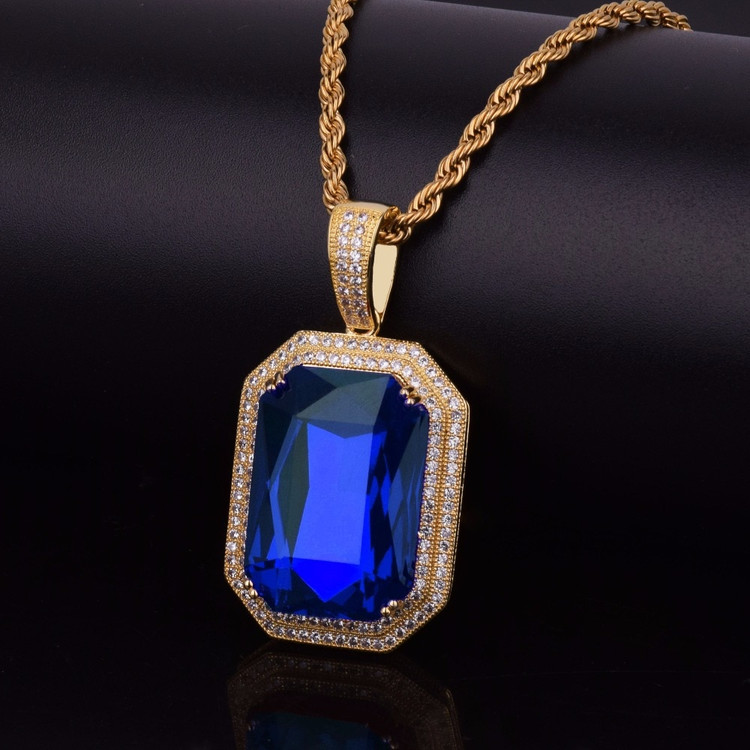 Blue Onyx Shield Simulated Diamond Iced Out Pendant