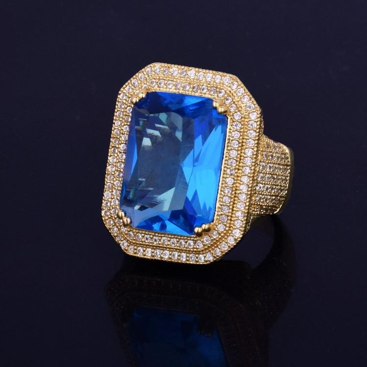 Aqua Blue Onyx Simulated Diamond Stone Pinky Ring