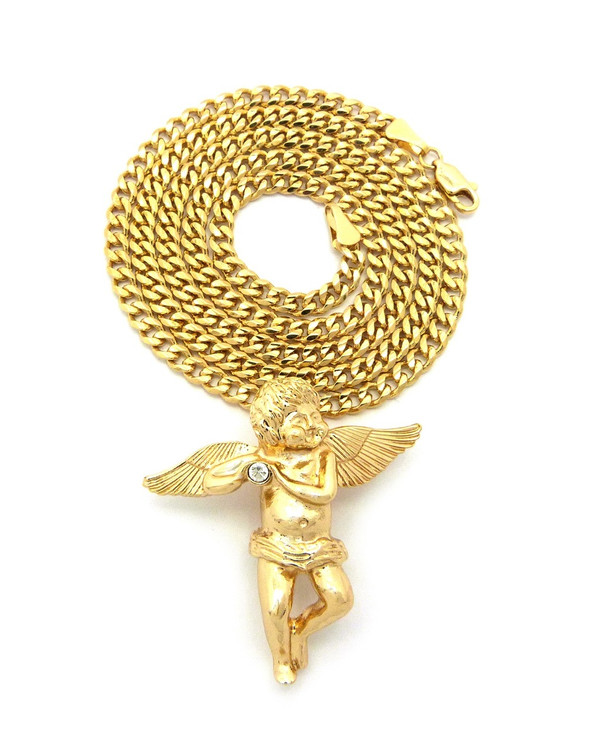 Angel gold Hip Hop Pendant