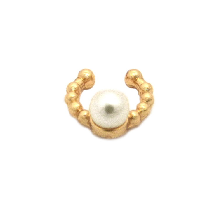 Faux Cream Pearl Gold Horseshoe Nose Ring