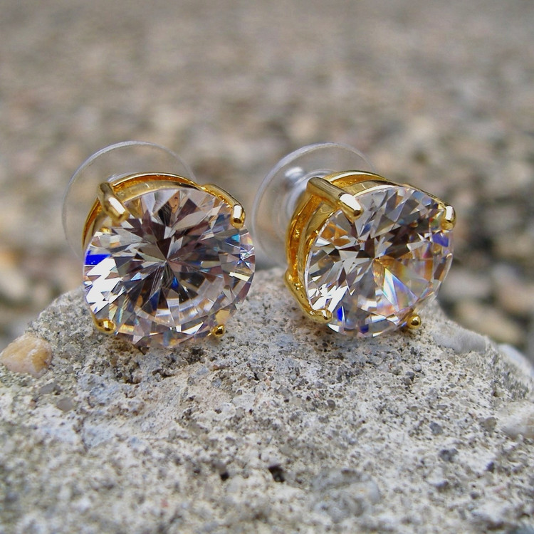 14k Gold 12mm Round Cut Earrings