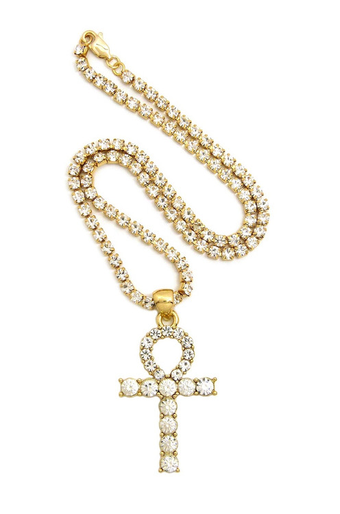 Gold Ankh Cross Prong Set Diamond Cz Necklace