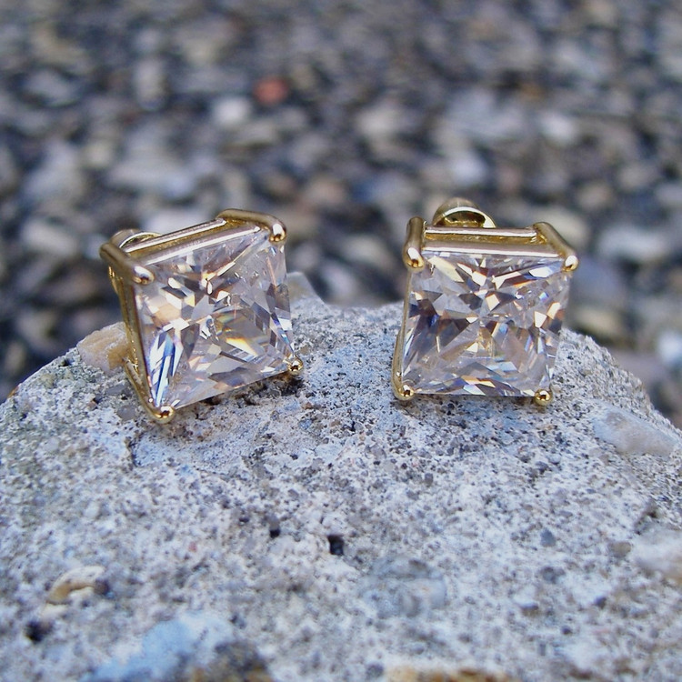 9mm Princess Cut Iced Out Earrings