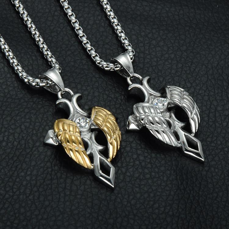 Men's Angel Wing Cross Hip Hop Punk Crucifix Stainless Steel Titanium Necklace