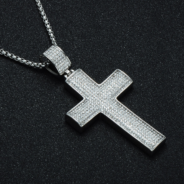 Hip Hop Silver Iced Out  Stainless Steel AAA Simulated Diamond Stone Cross Pendant