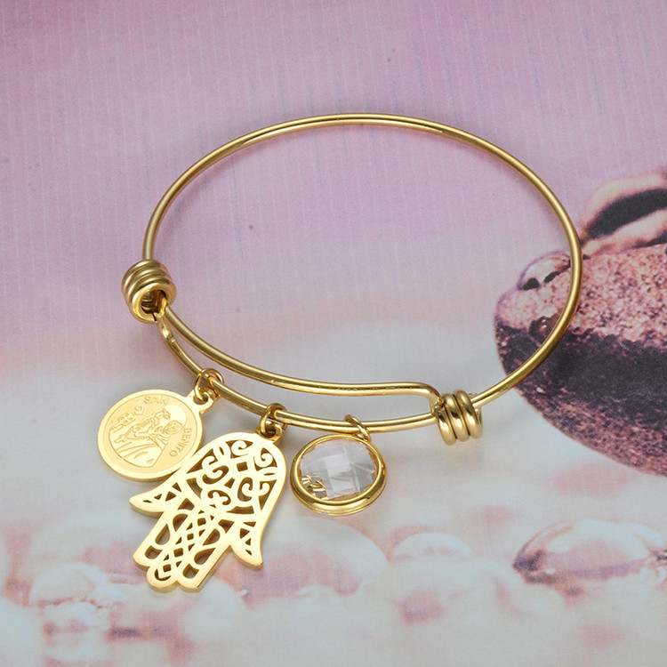 Hamsa Fatima Hand Lucky SAN BENITO  Gold Stainless Steel Bangle Bracelet