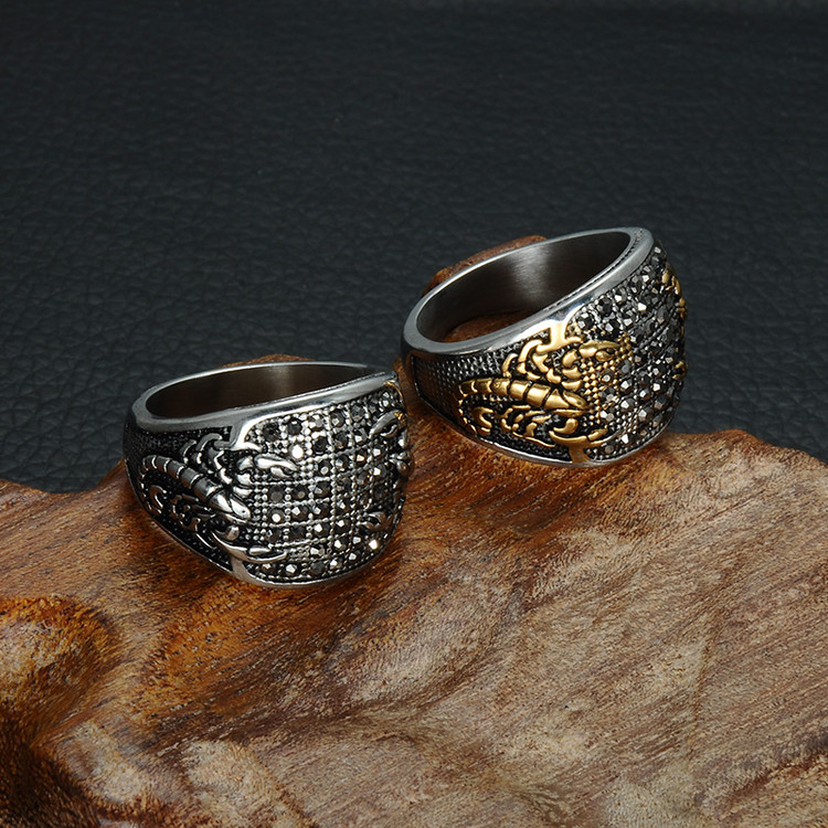 Crystal Scorpion Pattern Mens Ring