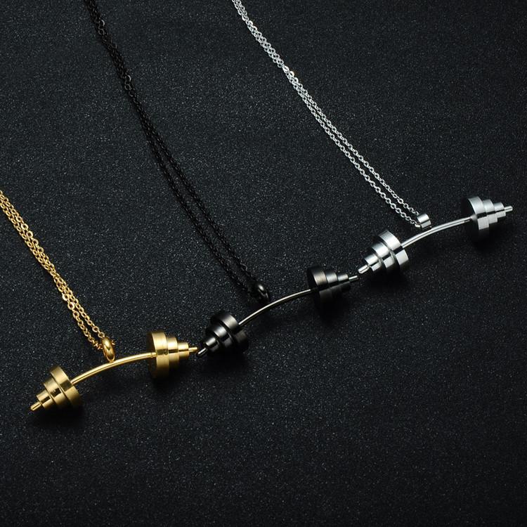 Mens Gold Titanium Stainless Barbell Dumbbell Chain Pendant