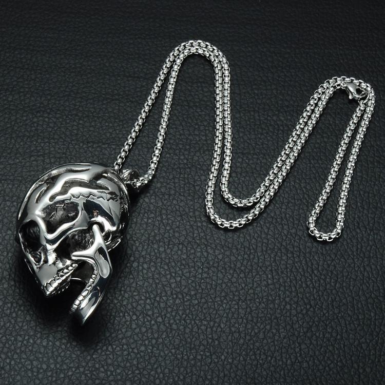 Men's Broken Titanium Stainless Steel Skeleton Skull Head Chain Pendant