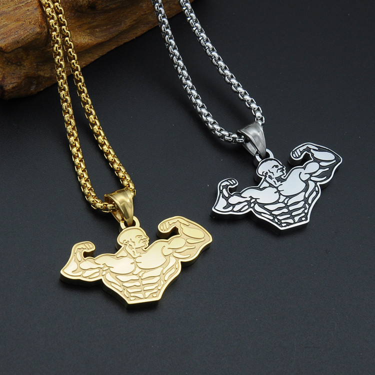 Hip Hop Titanium Stainless Steel Muscle Pendant Chain Necklaces