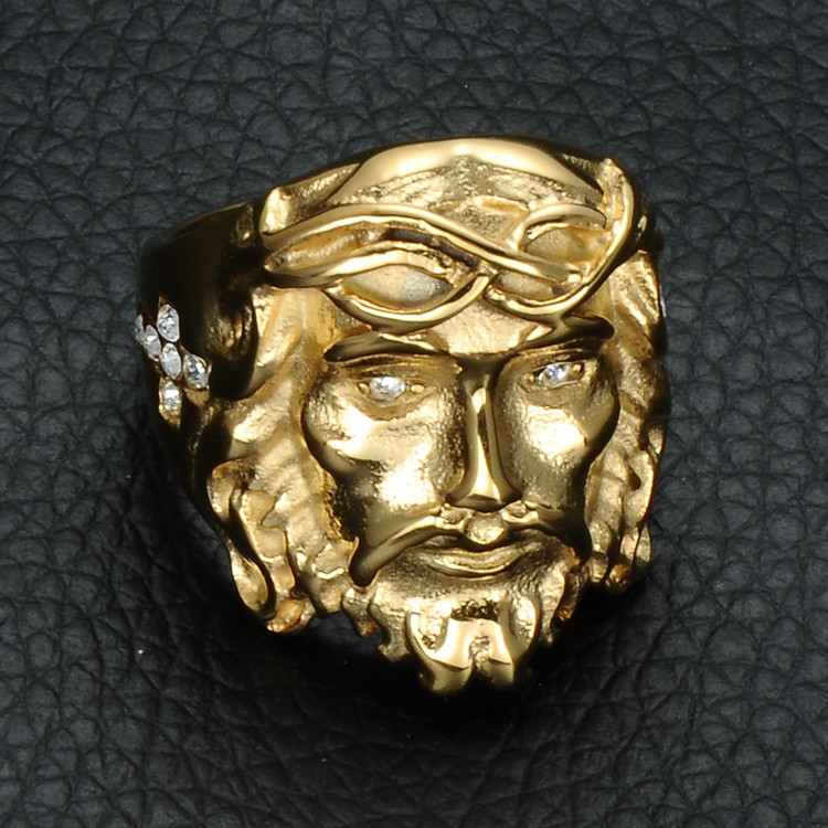 Men's HIP Hop Iced Out Gold Color Titanium Stainless Steel Bling 3D Christ Jesus Piece Cross Ring