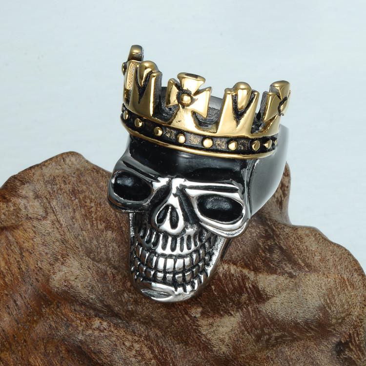 Men's Skull King Crown Skeleton Titanium Stainless Steel Ring