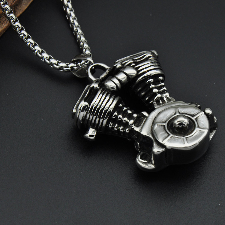 Mens Biker Boy Titanium Stainless Steel Biker Motorcycle Engine Chain Pendants Necklaces for Men Jewelry