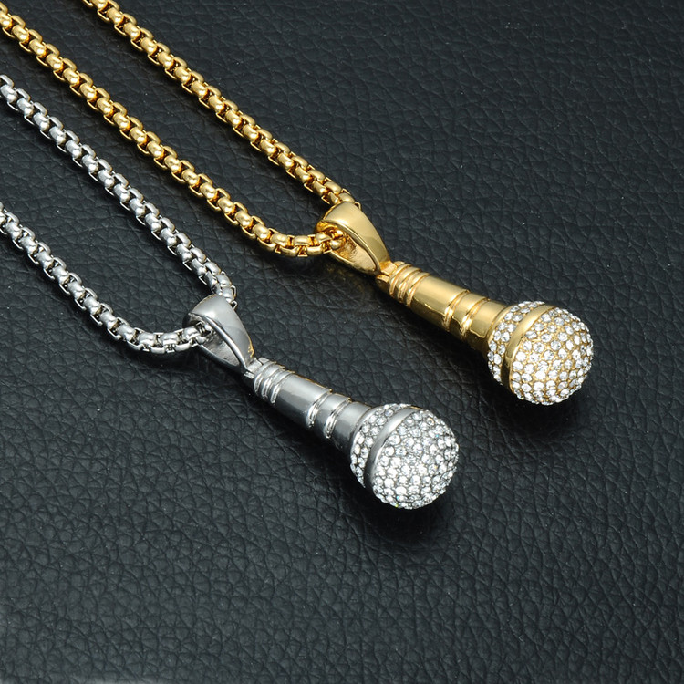 Hip Hop One Mic Titanium Stainless Steel Iced Out Microphone Chain Pendant