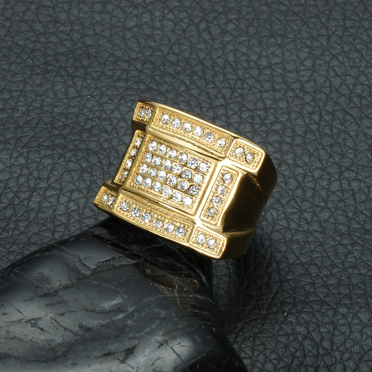 Mens Iced Out Micro Pave Simulated Diamond Bling IP Gold Filled Titanium Stainless Steel Rings for Men Jewelry