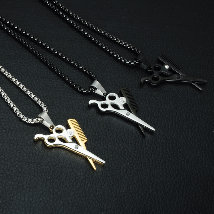 The Barber Shop Haircut Scissors Stainless Steel Chain Pendant