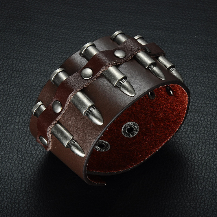 Mens Bullet Time Adjustable Creative Unique Bracelet Leather Bracelet