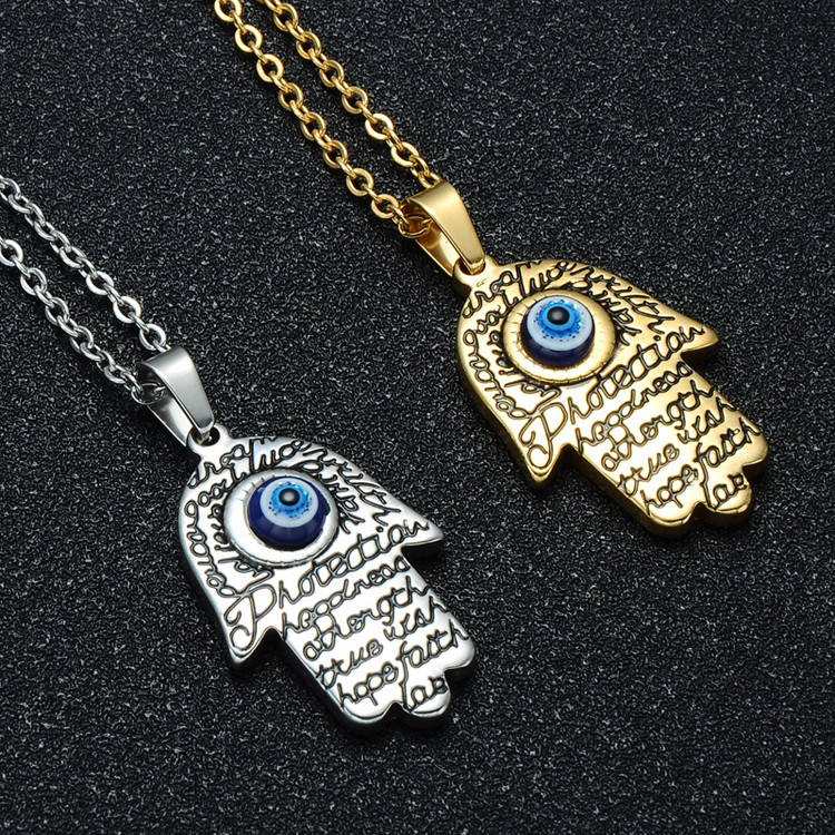 Stainless Steel Blue Evil Eye Fatima Palm Hamsa Amulet Chain Pendant Necklace