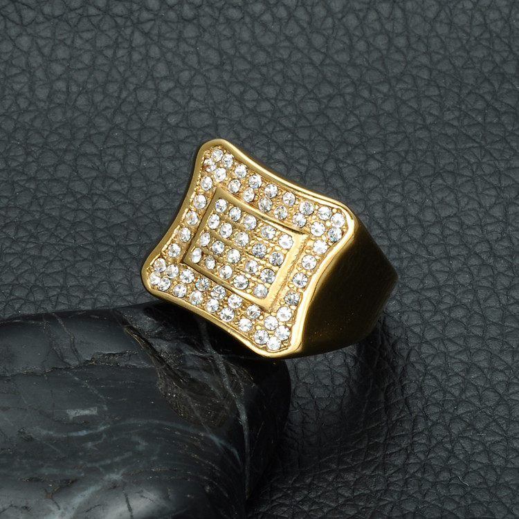 Mens Iced Out Gold Stainless Steel Micro Pave Simulated Diamond Bling Square Ring