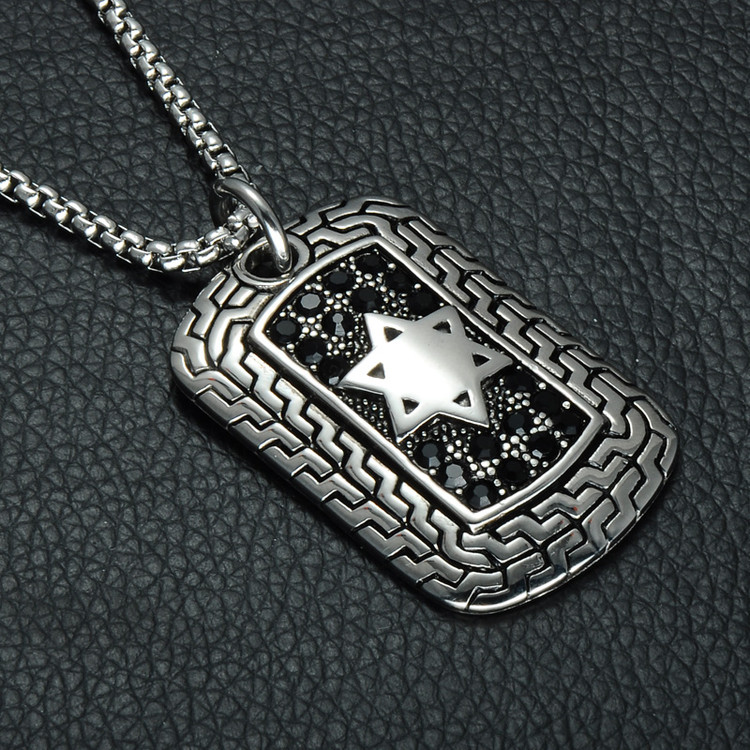Mens Silver Stainless Steel Square Star of David Dog Tag Pendant Chain Necklace