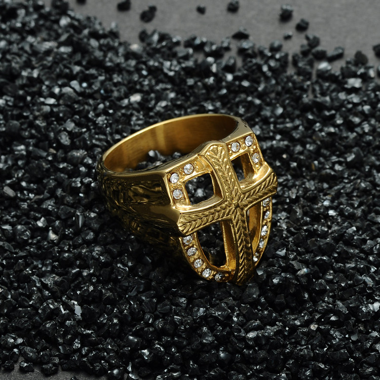 Mens Iced Out Armor Crusader Cross Titanium Stainless Steel Simulated Diamond Ring