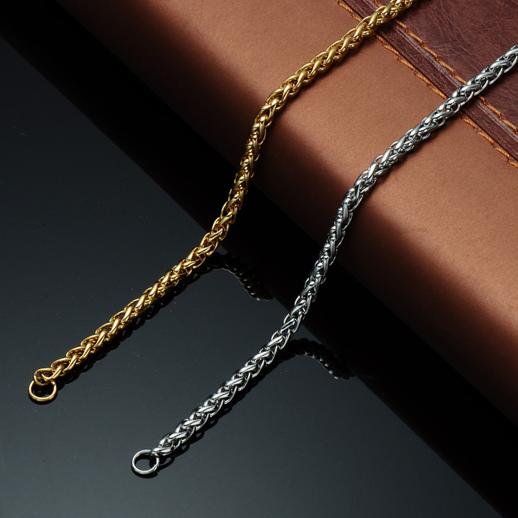 Mens Hip Hop 24 Inch 6mm Stainless Steel Basket Link Chain Necklace