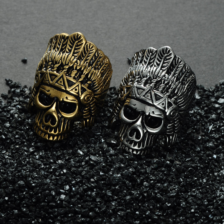 The Chief Feather Crown Skeleton Skull Titanium Stainless Steel Tribal Ring