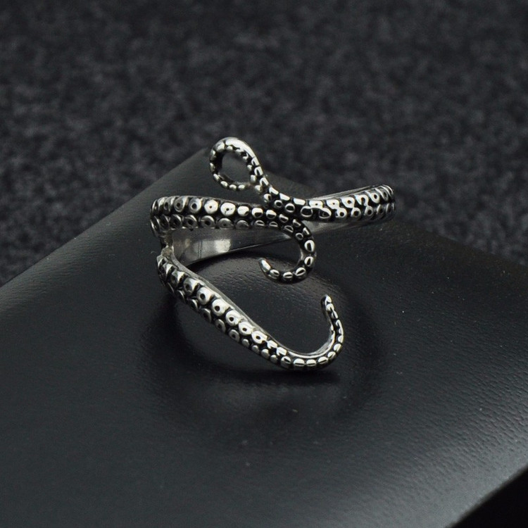 Mens Hands All Over Octopus Tentacle  Adjustable Pinky Ring