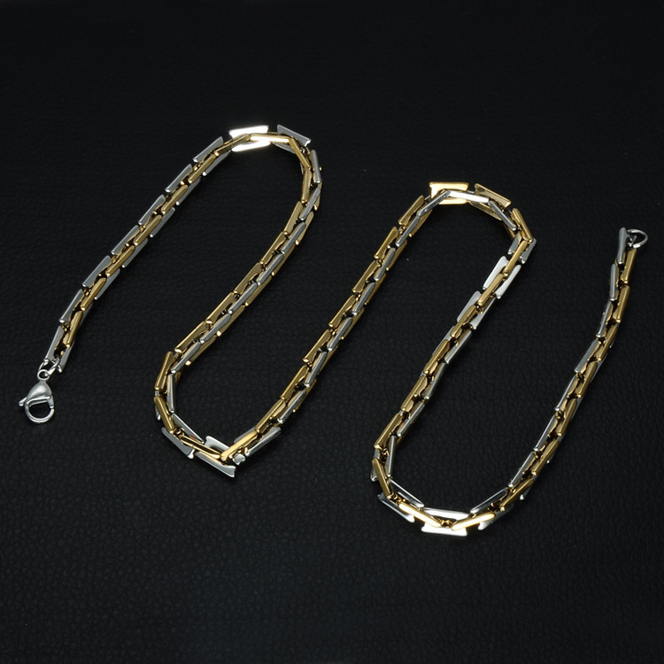 Mens Hip Hop Two Tone Gold Titanium Stainless Steel Handmade Heavy Link Byzantine Chain Necklace