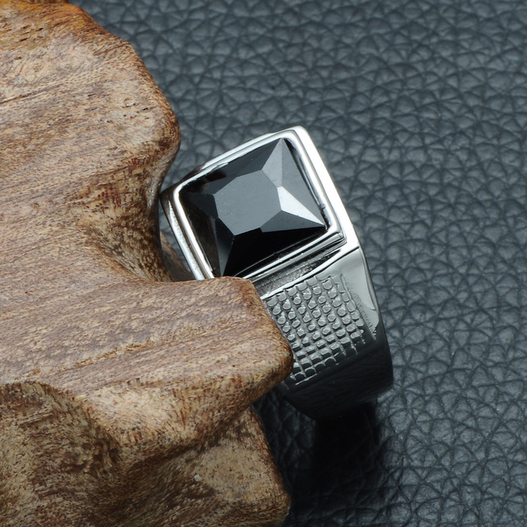 Mens Iced Vintage Black Simulated Diamond Silver Titanium Stainless Steel Ring