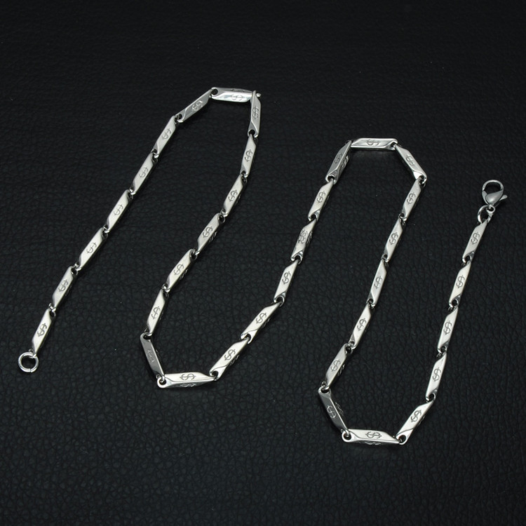 Mens Hip Hop Titanium Stainless Steel Dollar Sign Pattern Stick Aberdeen Chain Necklace