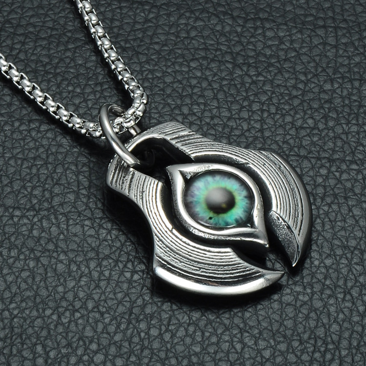 Mens Ancient African Egyptian Eye Of Horus Vintage Titanium Stainless Steel Chain Pendant