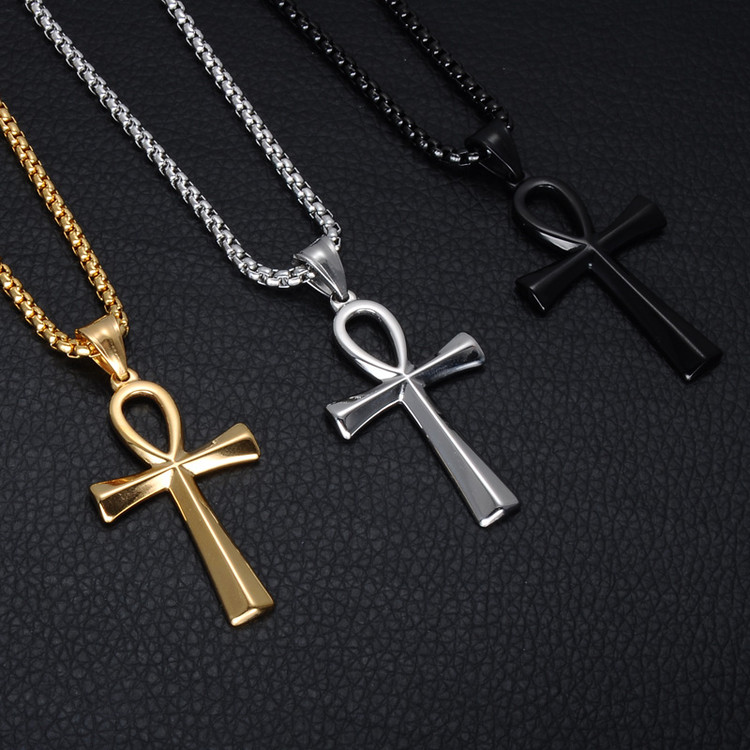 Men's Ancient African Egyptian Ankh Cross Stainless Steel Titanium Pendant