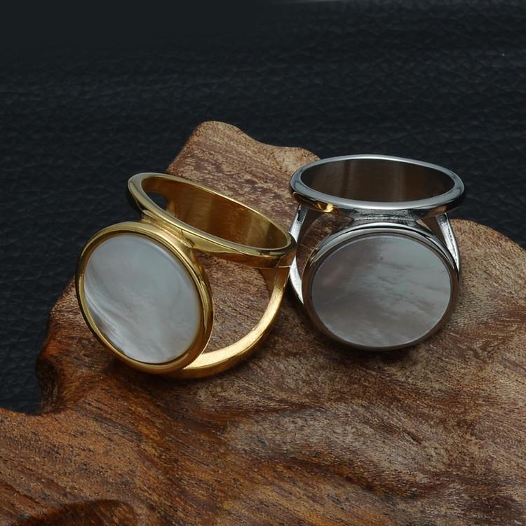 Women's Elegant Milky Round Pearl Natural Shell Silver Big Stone Titanium Ring