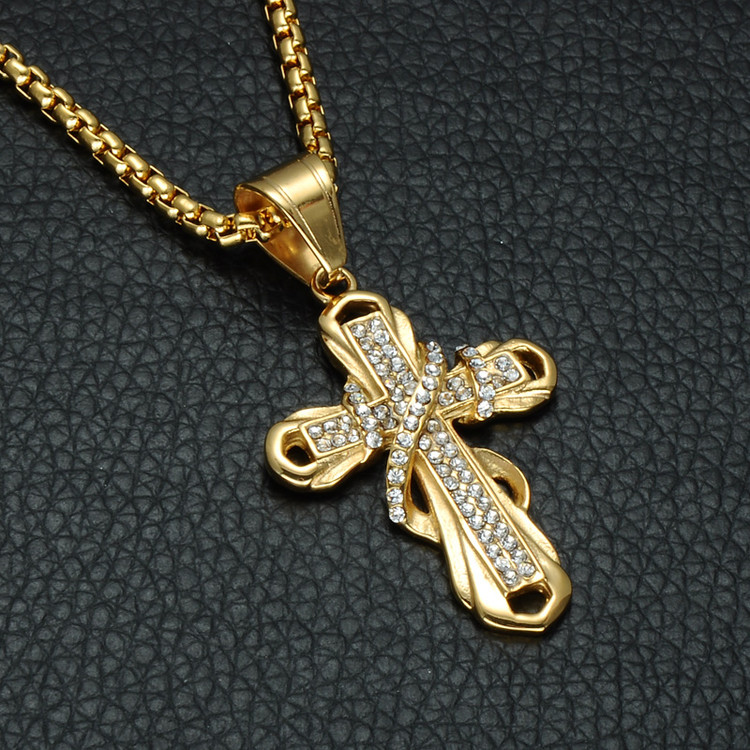 Hip Hop Pave Simulated Diamond Stainless Steel Cross Crucifix Chain Pendant Necklace
