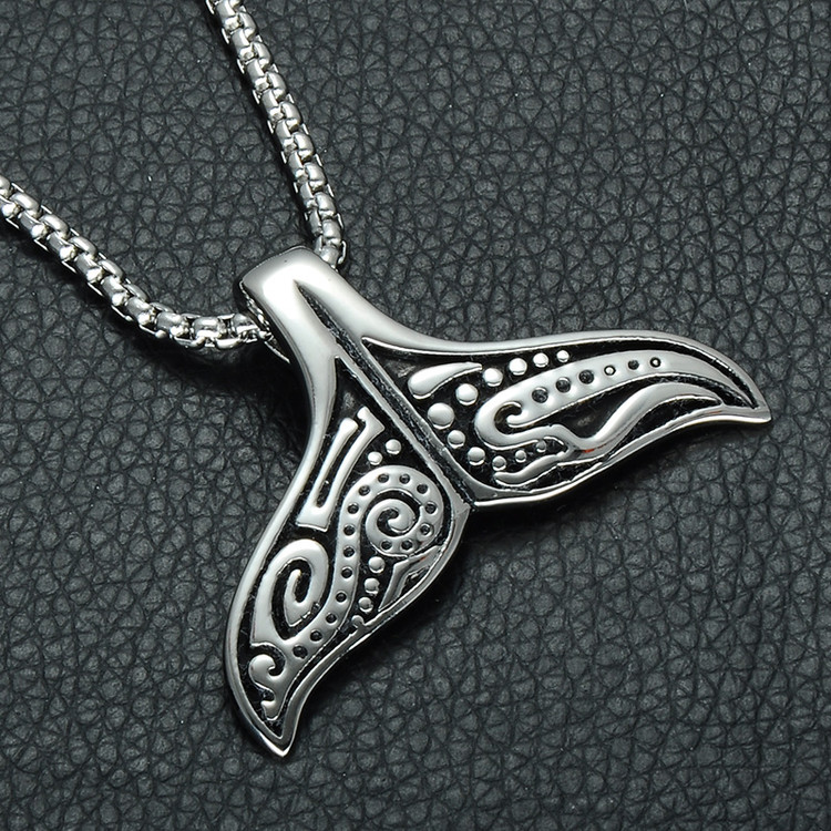 Mens Whale Tail Fish Supernatural 316L Stainless Steel Chain Pendant