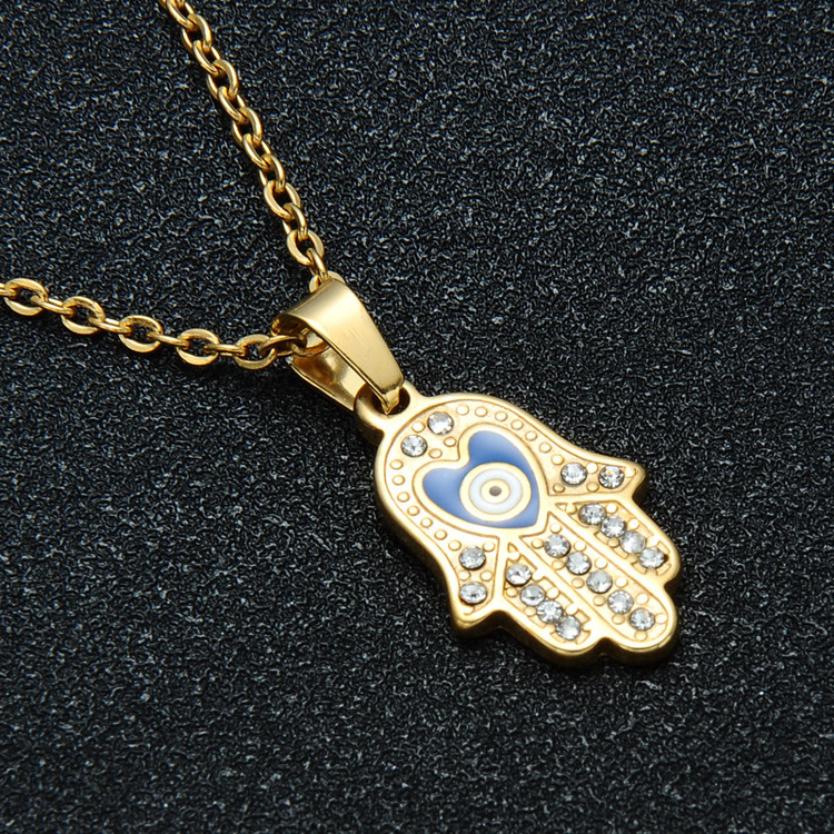 Ladies Gold Hamsa Hand Simulated Diamond Pave Stainless Steel Fatima Palm Pendant Necklace