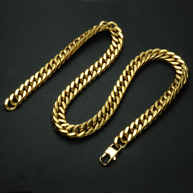 Hip Hop 24 Inch Gold Filled Heavy Titanium Stainless Steel Double Curb Cuban Link Rombo Chain Necklace