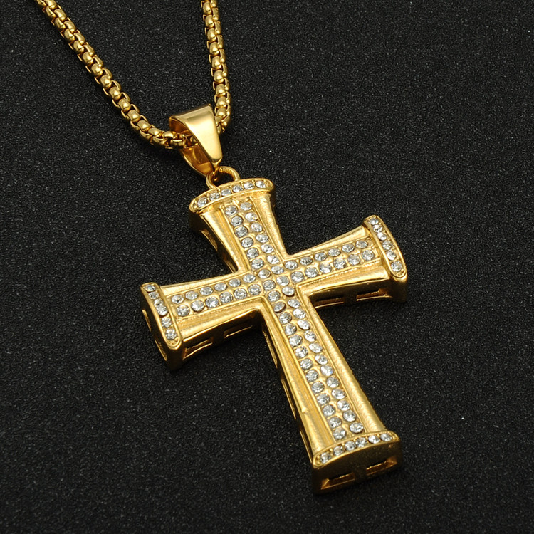 Hip Hop Simulated Diamond Iced Out Titanium Stainless Steel Chain Pendant