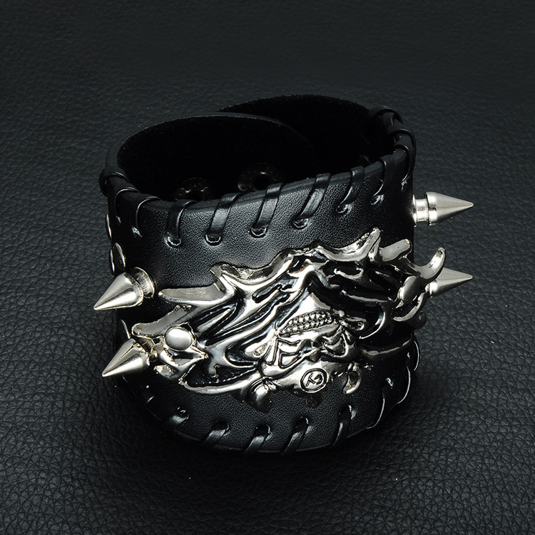Mens Punk Biker Unique Rivet Skeleton Skull Bracelets Wide Leather Bracelet