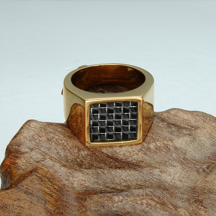 Mens 14k Gold Bling Geometric Square Titanium 14k Gold Stainless Steel Ring