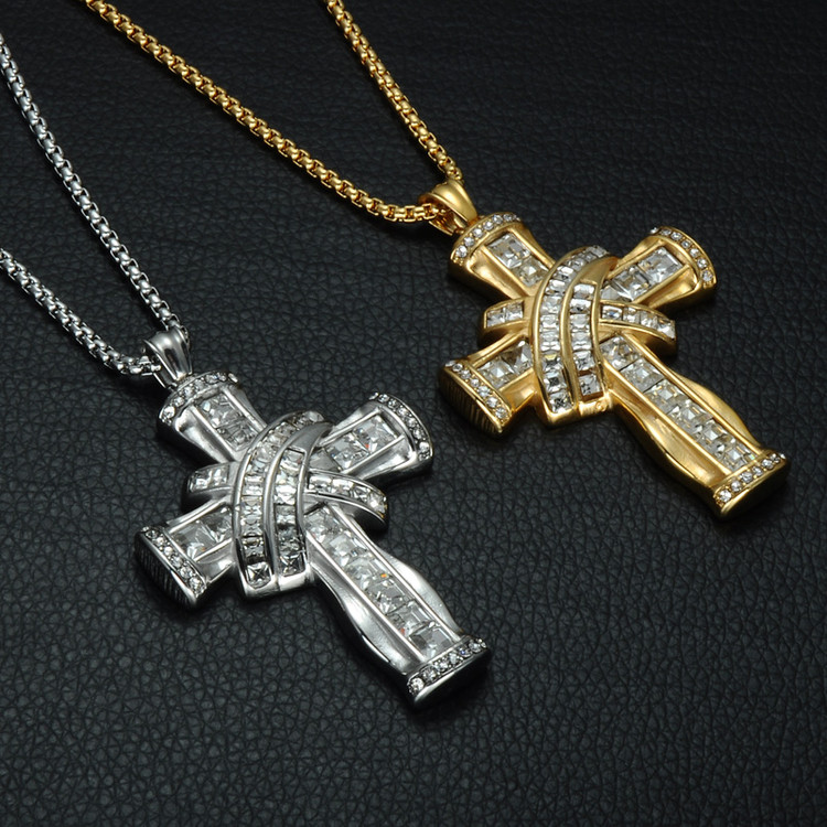 Mens Iced Out Stainless Steel Simulated Diamond Luxury Cross Chain Pendant