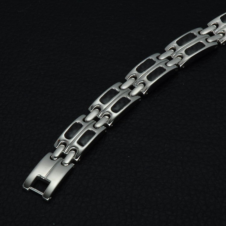 Mens Double Row Stainless Steel Magnetic Bling Bracelet
