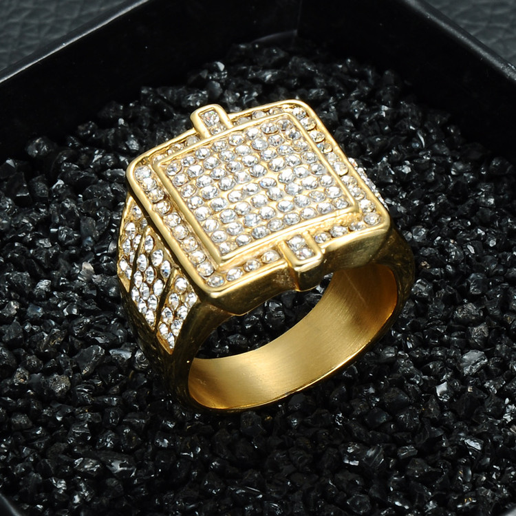 1Hip Hop 14k Gold Bling Iced Out Stainless Steel Double Square Rings