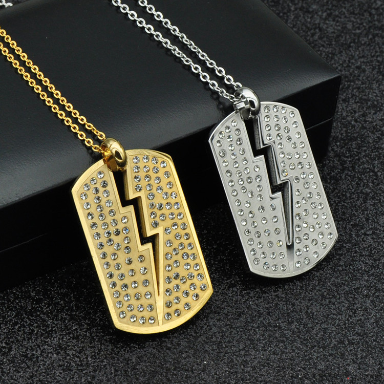 Iced Out Simulated Diamond IP Gold Filled Stainless Steel Dog Tag Chain Necklace