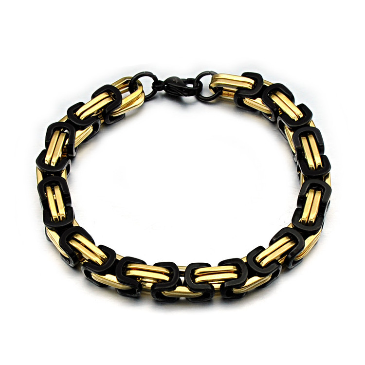 Mens 8mm 23CM Titanium Stainless Steel 14k Gold Box Byzantine Link Chain Bracelet